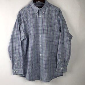 Roundtree & Yorke Trademark Plaid Dress Shirt L